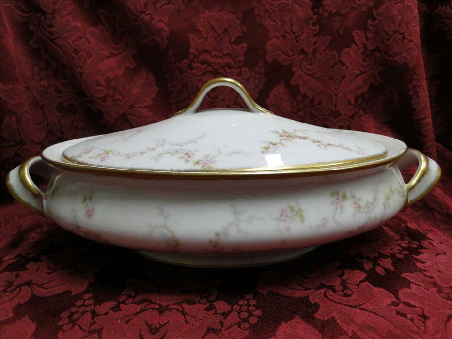 Haviland (Limoges) Schleiger 334-1 Pink Roses, Gold Trim: Oval Covered Vegetable