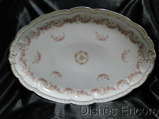 Zeh, Scherzer & Co 508, Pink Rose Garland: Oval Serving Platter, 17 3/8""