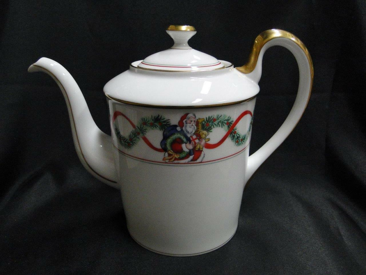 Fitz & Floyd Christmas Wonderland, Santa, Toys, Gold Trim: Coffee Pot with Lid