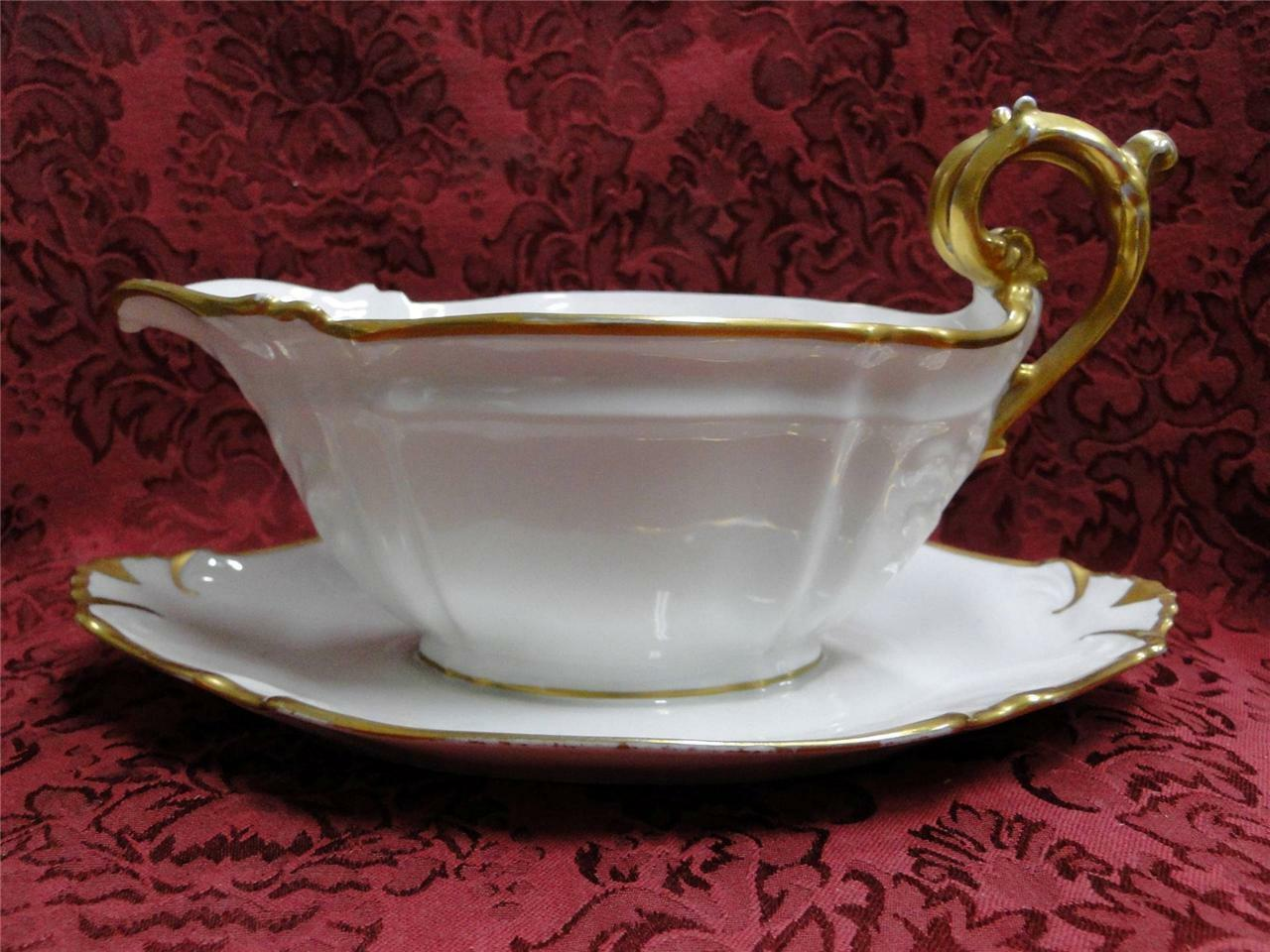 Redon, M (PL Limoges), White, Embossed, Gold Trim: Gravy w/ Attached Underplate