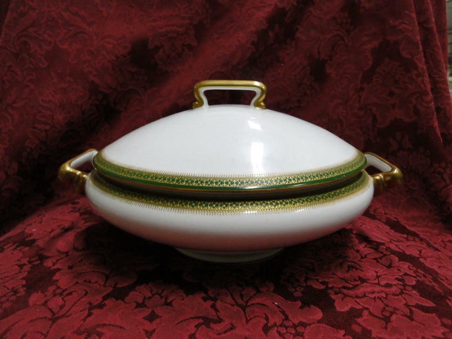 Tressemanes & Vogt 5222, White w/ Gold on Green Band: Covered Vegetable Bowl