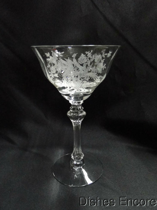 "Tiffin Persian Pheasant, 17358, Etched Birds: Champagne/Sherbet, 6 1/2"", Flaw"