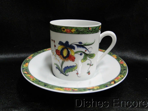 Raynaud Ceralene Louviers, Flowers, Green Band: Demitasse Cup & Saucer, As Is
