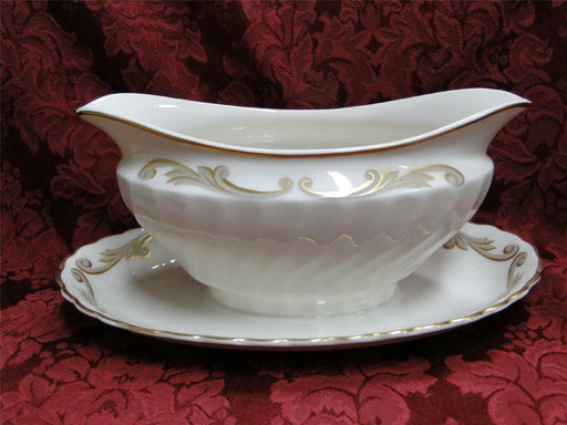 Syracuse Baroque, Gray & Gold Scrolls, Swirl Rim: Gravy Boat w/ Attached Plate