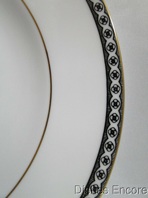Wedgwood Ulander Black, Black Lines & Circles on Edge: Salad Plate (s), 8""