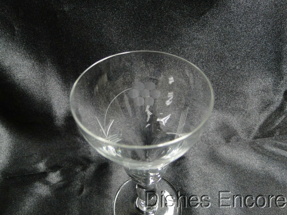 "Clear w/ Etched Flowers & Leaves: Liquor Cocktail (s), 5"" Tall -- CR#016"