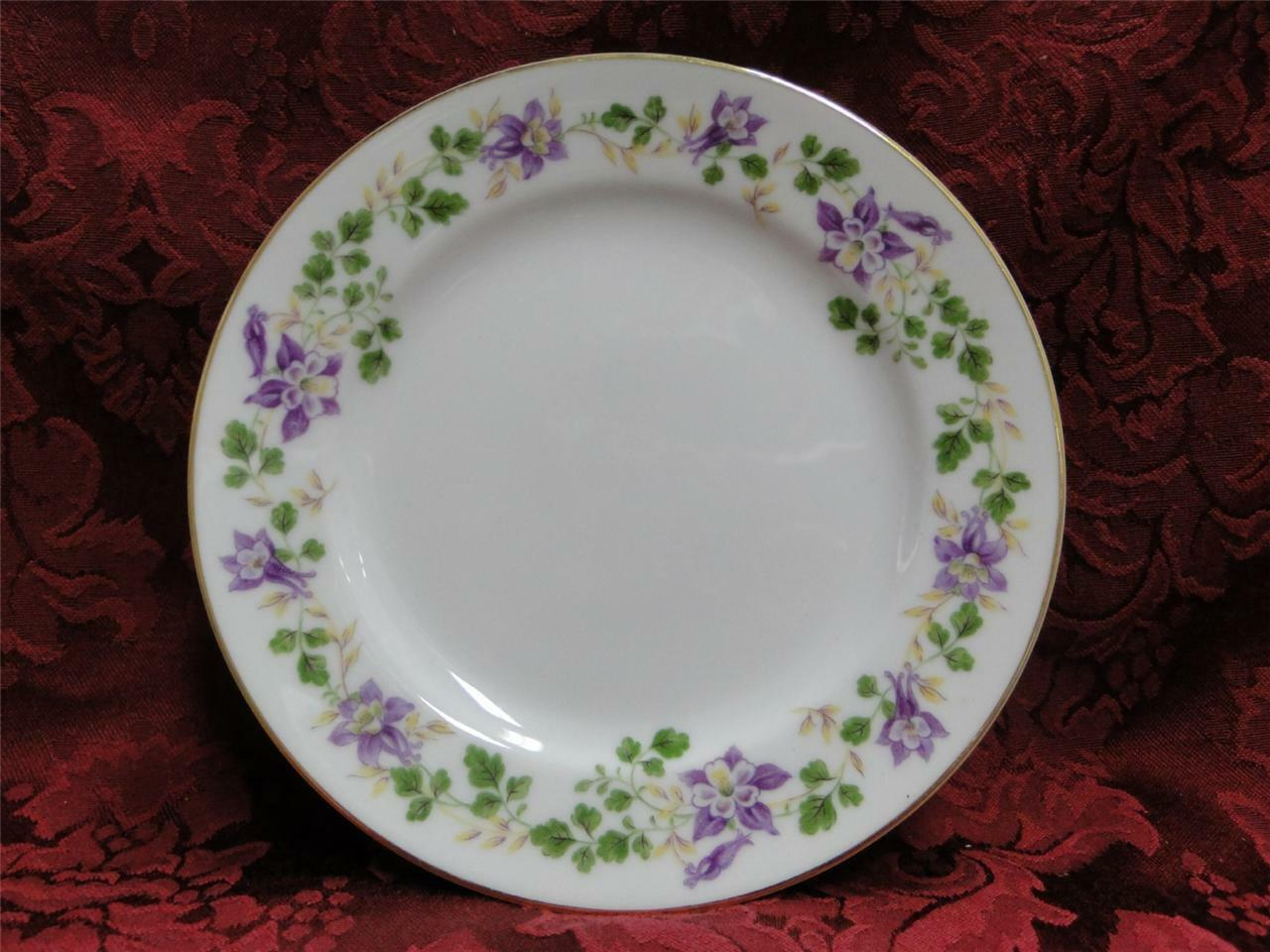 Noritake Therese, 5158, Purple Floral, Gold Trim: Bread Plate (s), 6 3/8""