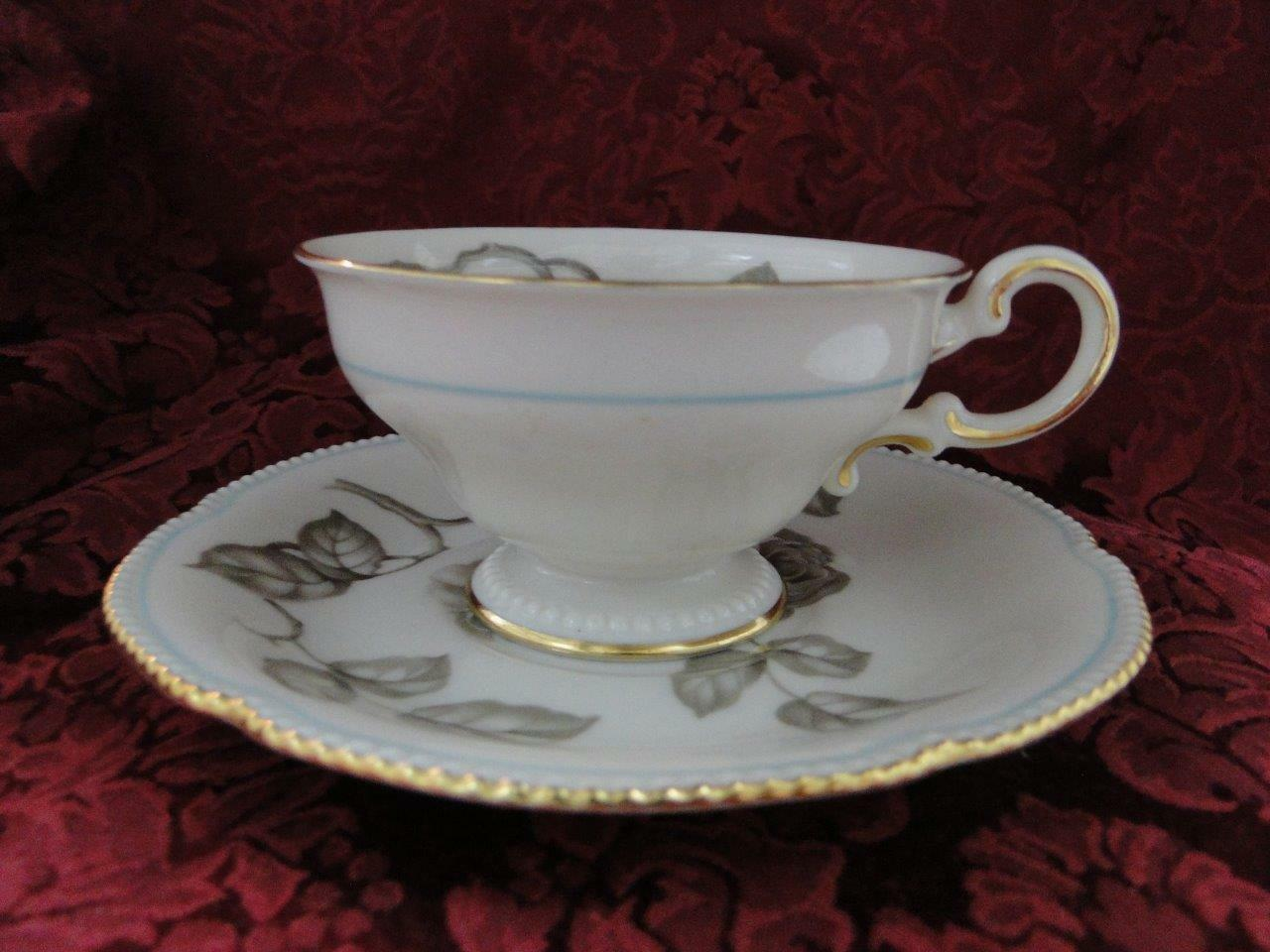 Castleton Gloria, Taupe Roses, Thin Blue Trim: Cup and Saucer Set (s) 2 1/4""