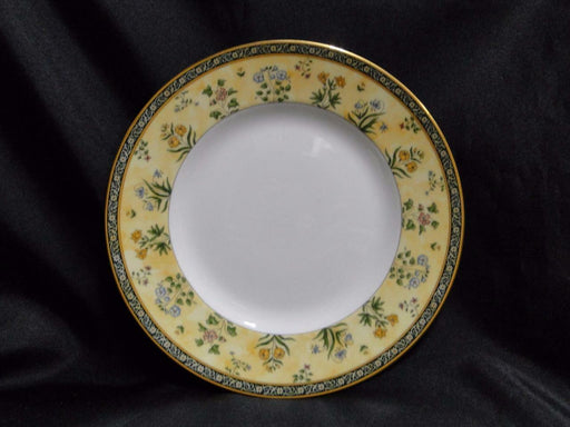 Wedgwood India, Florals on Tan & Black Bands: Salad Plate (s), 8 1/8""