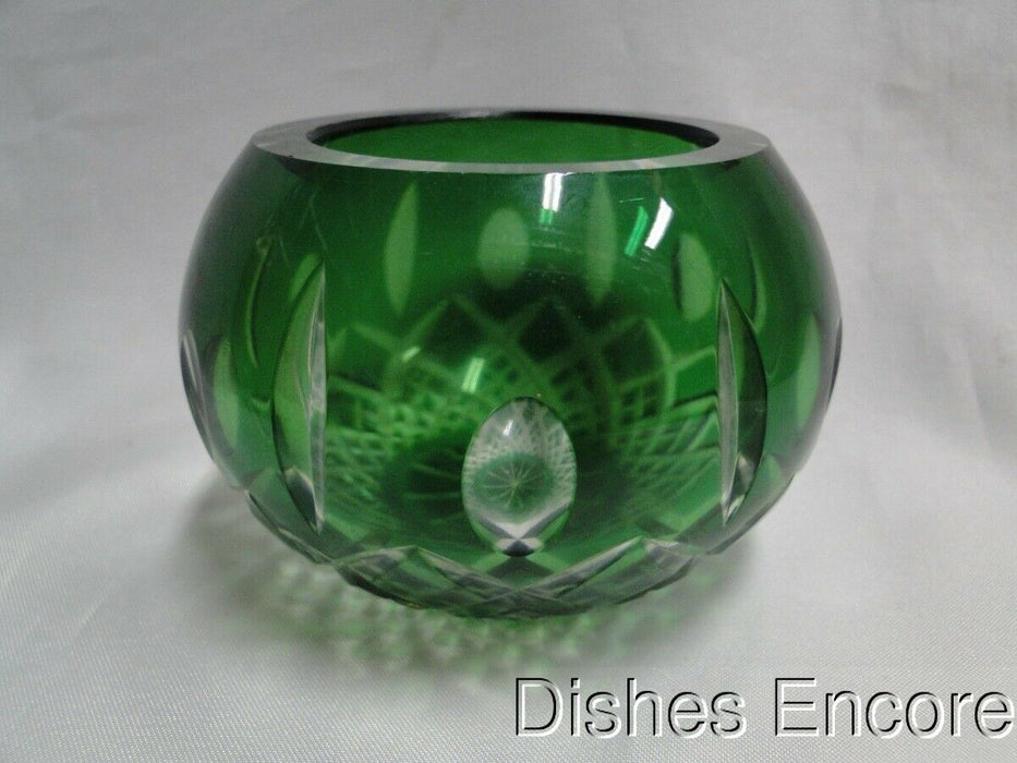 "Green Cut Votive Candleholder with Criss Cross and Vertical Cuts, 2 1/2"" CR106"