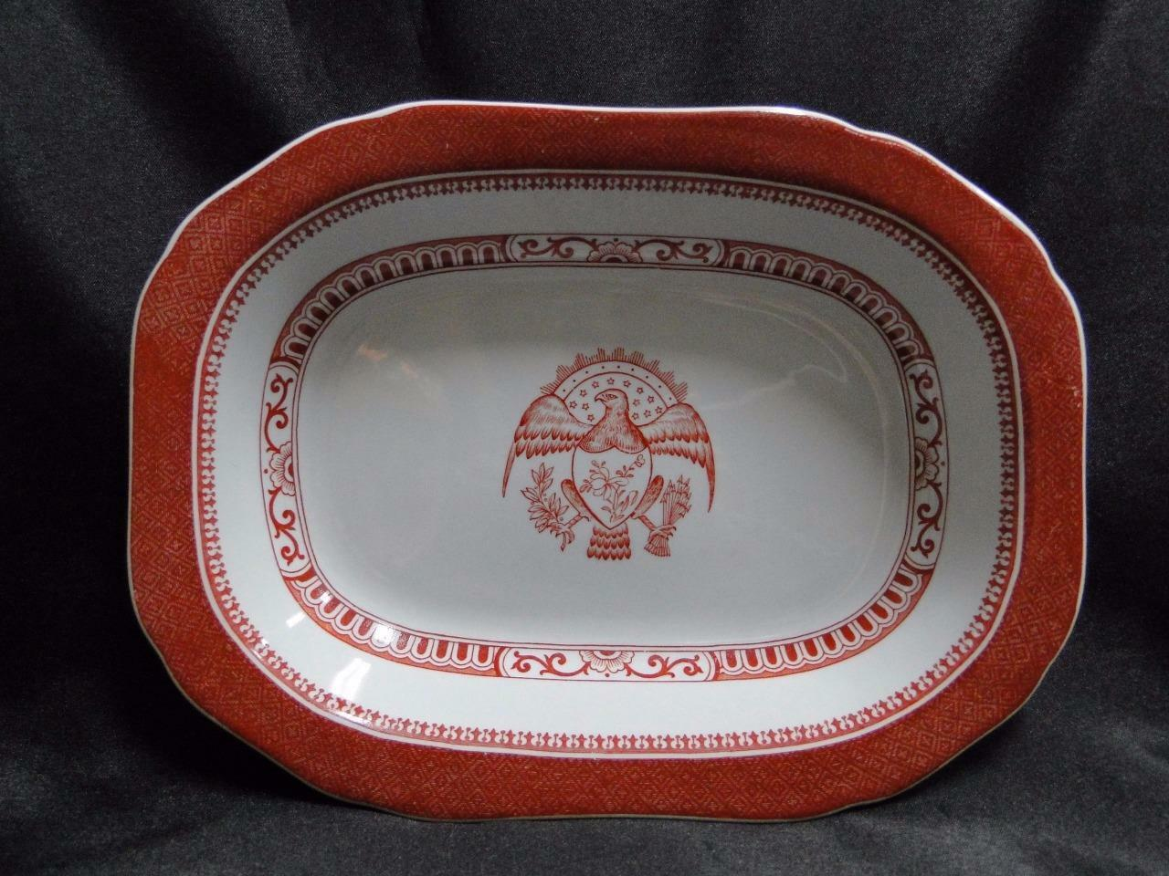 "Spode Heritage Red, Eagle, New Stone: Oval Serving Bowl,  9"" x 6 3/4"""