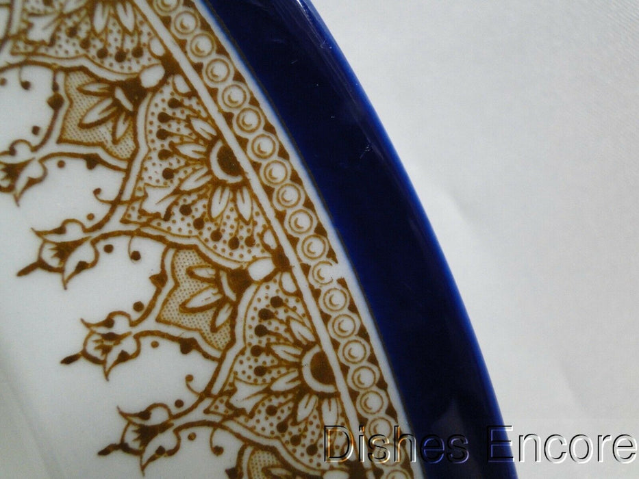 Royal Worcester White w/ Cobalt Blue Band & Tan, Vitreous: Rim Soup Bowl 10 1/8""
