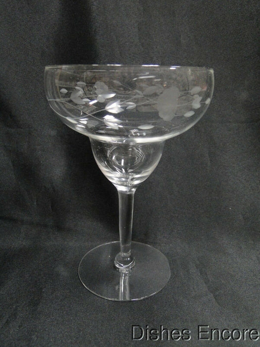 "Princess House Heritage, Clear w/ Gray Cut Florals: Margarita Glass, 6 3/4"" Tall"