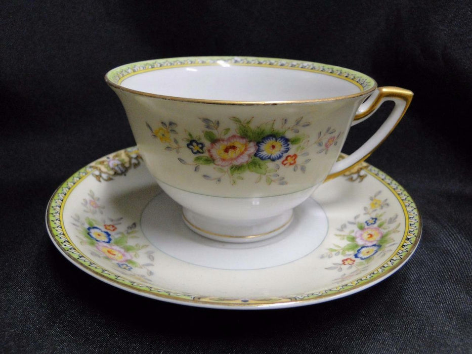 Meito Floral with Green Trim, Gold Edge: Cup and Saucer Set (s) 2 3/8""