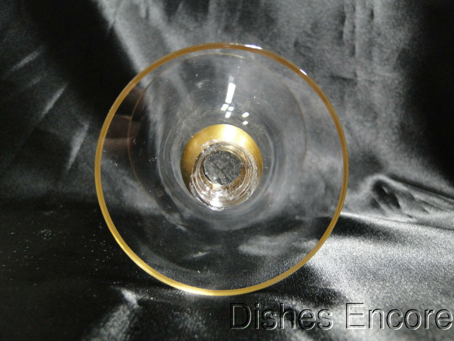 "Gold Trim & Ball Stem, ""V"" Shape: Water or Wine Goblet 5 1/4"" CR#084"