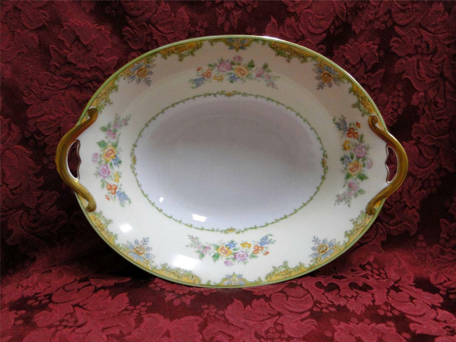 Noritake Multicolored Floral w/ Green & Tan Edge: Oval Vegetable Bowl, 10.75""