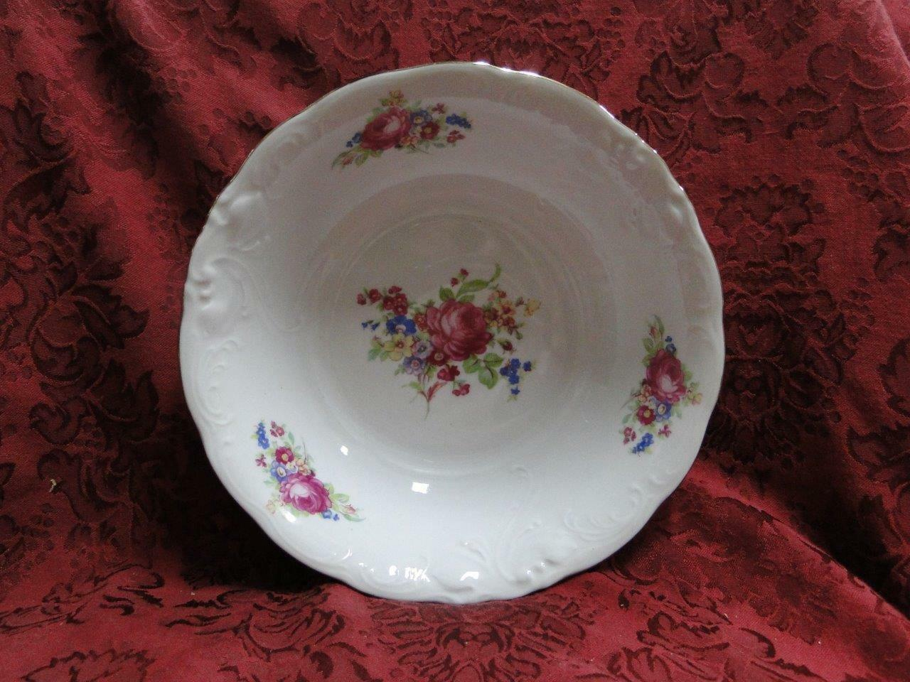 "Wawel Anastasia, Floral Sprays, Embossed Scrolls: Round Serving Bowl, 9"" x 2.5"""