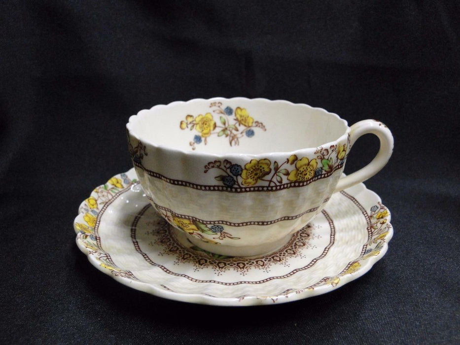 Spode Buttercup, Yellow, Brown, Older Backstamp: Cup & Saucer Set (s), 2 1/8""
