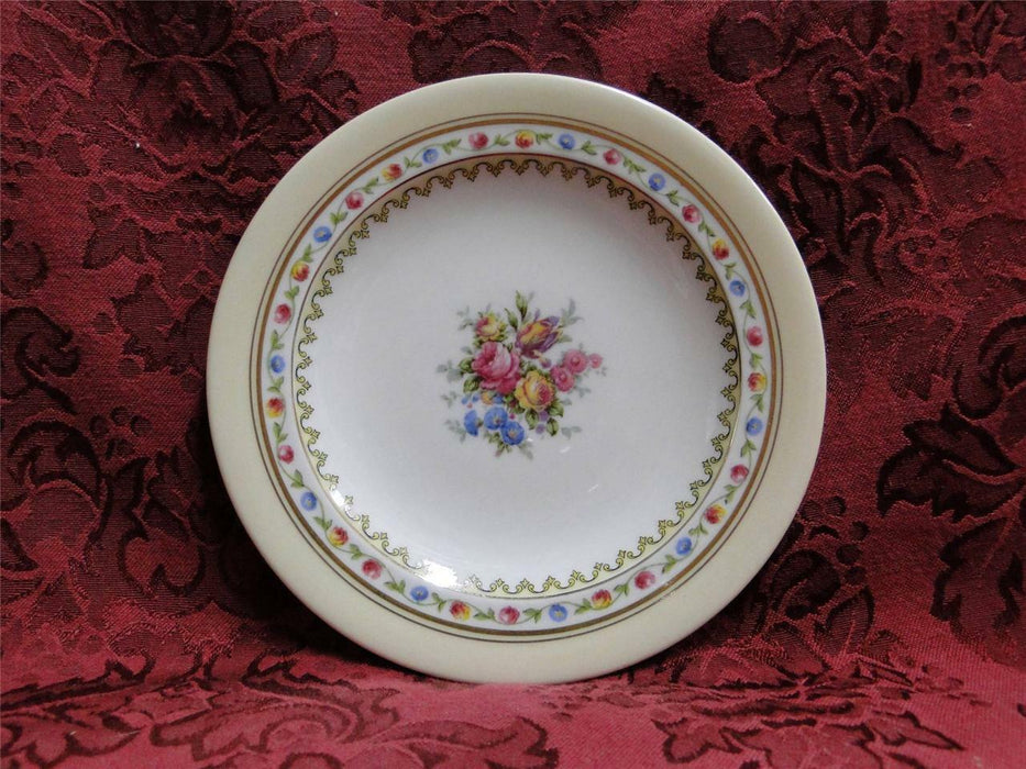 Raynaud RYD2: Tan Rim, Floral Center, Rose Trim: Bread Plate (s), 6 1/8""