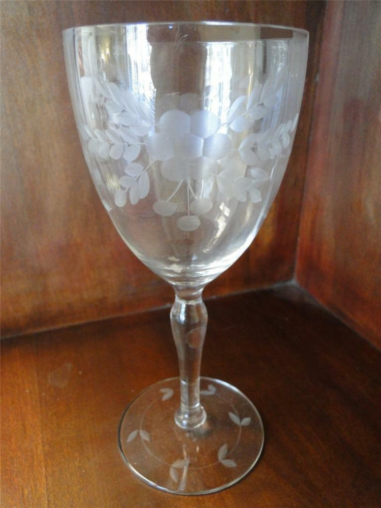 Glastonbury Lotus Stem 66 Floral Gray Cut Crystal: Water or Wine Goblet 7 1/4""