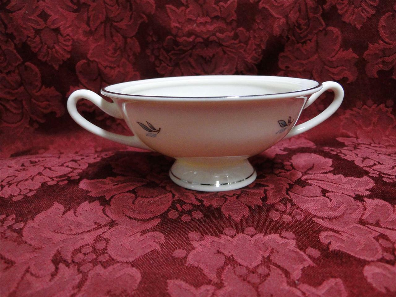 "Syracuse Celeste, Blue Leaves on Rim, Platinum: Sugar Bowl, No Lid, 2 1/8"" Tall"