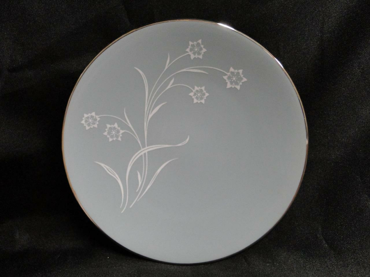 Flintridge Reverie Strata Blue, White Flower, Platinum Trim: Bread Plate (s) 6 3/8""