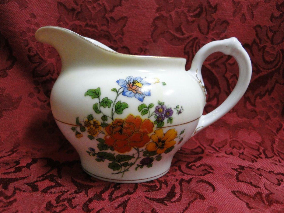 "Thun Thu71 Floral Rim & Center, Cream Band: Creamer / Cream Pitcher, 3 1/8"" Tall"