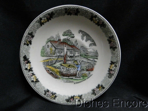 "Adams Currier & Ives Gray, Multicolor: Saucer Only 6"" AS IS, Chip"