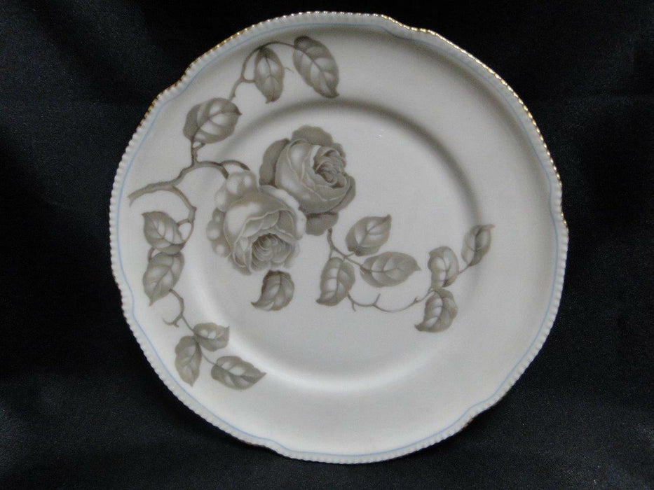 Castleton Gloria, Taupe Roses, Thin Blue Line, Gold Trim: Salad Plate (s) 8""