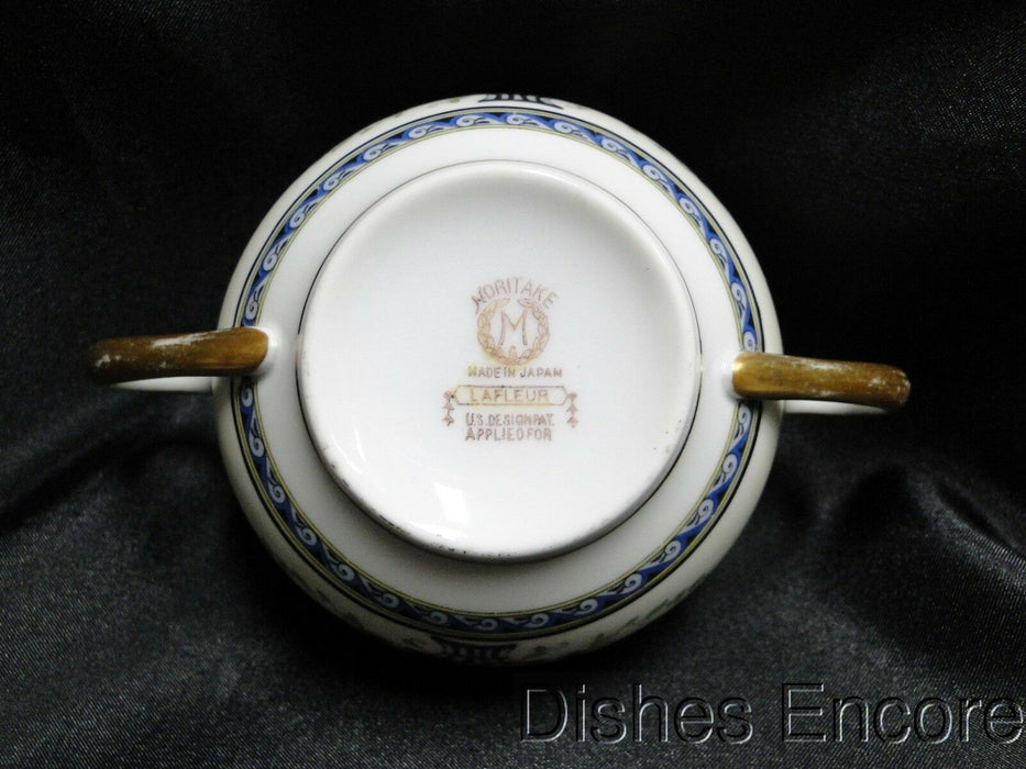 Noritake Lafleur, Flower Baskets, Blue Wave Like Band: Bouillon Cup & Saucer Set