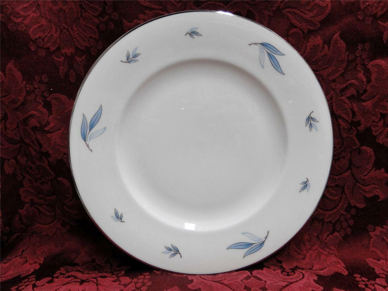 Syracuse Celeste, Blue Leaves on Rim, Platinum: Salad Plate (s), 8""