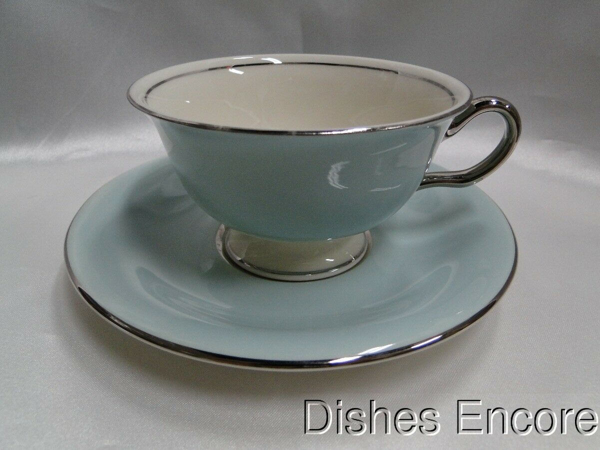 Castleton, Castleton Turquoise, Platinum Trim: Cup and Saucer Set (s) 2 1/4""