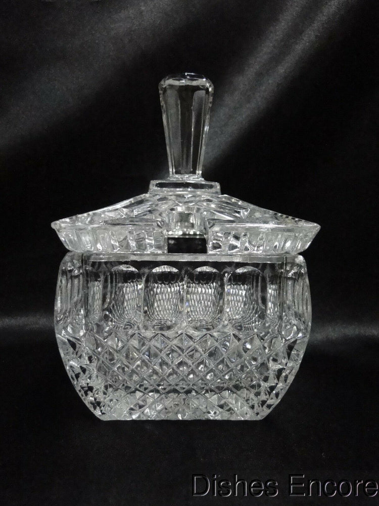 Clear w/ Oval & Cross Hatch Cuts: Square Jam/Jelly Jar w/ Lid, As Is --  MG#169