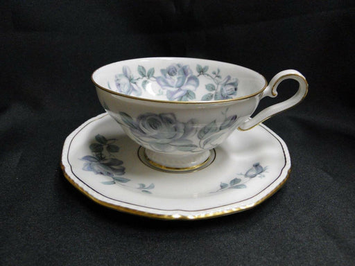 "Royal Tettau Damask Rose, Blue / Green Roses: Cup & Saucer Set (s), 2 1/8"" Tall"