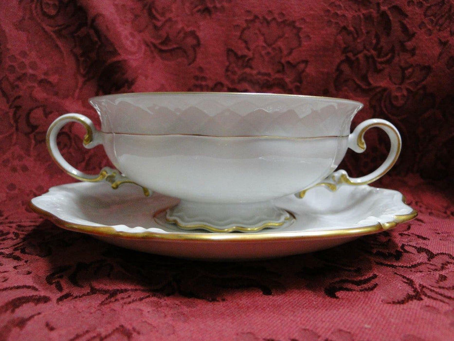 Royal Coburg, Ivory w/ Embossed Lattice: Cream Soup Bowl & Saucer Set (s)
