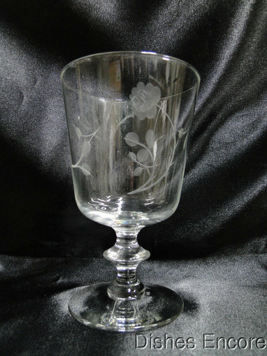 "Gray Cut Roses, Wafer Stem: Water or Wine Goblet, 5 1/4"" Tall - CR#073"