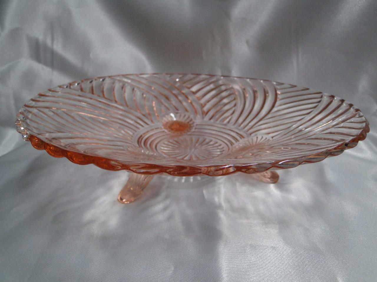 Anchor Hocking AHC60 Pink Swirled Ridges: 3 Toed Footed Bowl 9 7/8""