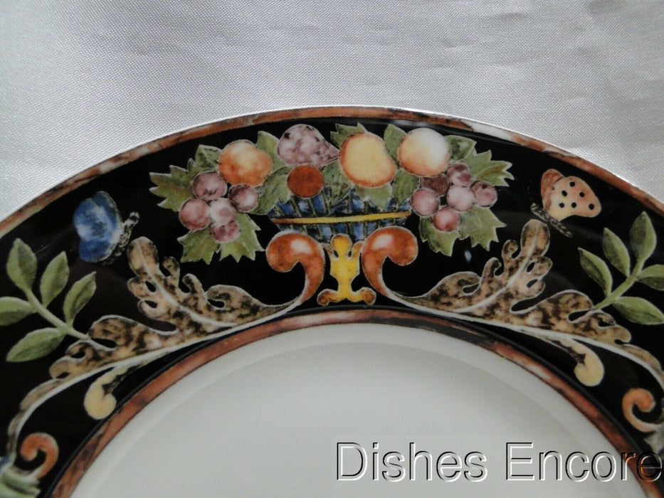 Villeroy & Boch Intarsia, Black, Fruit, Flowers, Butterflies: Bread Plate, 7""