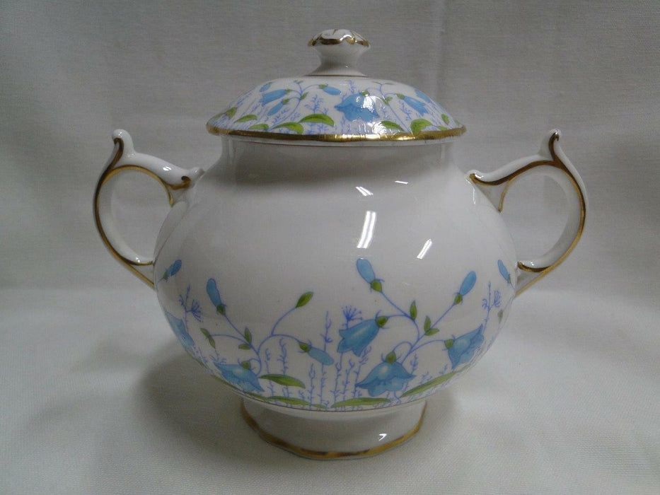 Coalport Harebell Turquoise, Gold Trim: Sugar Bowl and Lid, 4 3/4""