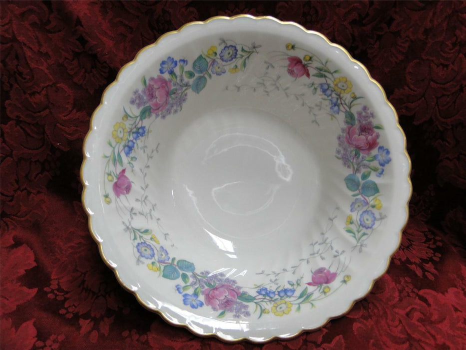 Syracuse Lilac Rose, Multicolored Floral Rim: Round Vegetable Bowl,  8 3/4""