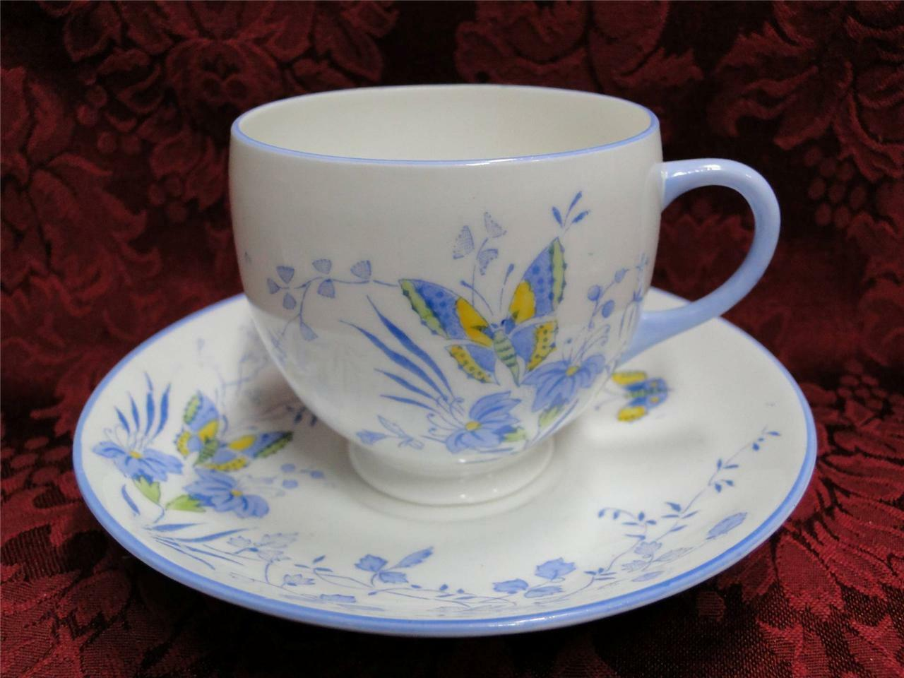Heathcote Butterflies, Blue, Yellow: Cup and Saucer Set (s)