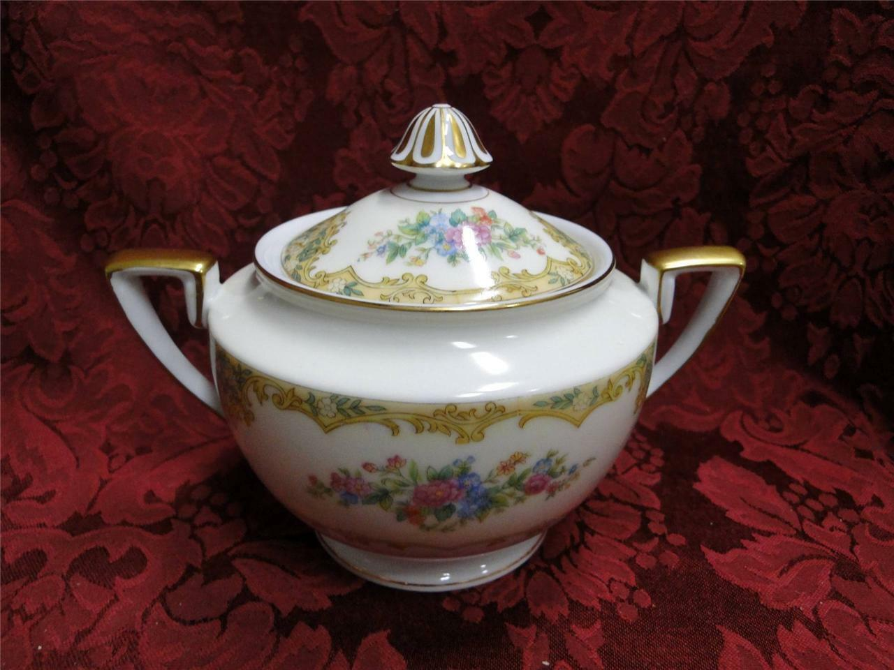 Noritake Alvin, Floral Sprays, Tan & Yellow Edge: Sugar Bowl with Lid