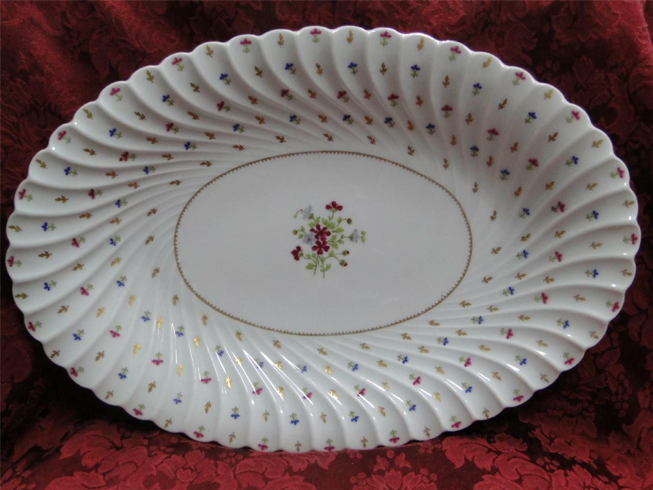 Haviland (Limoges) Lutetia, Floral Center, Gold Trim: Platter 15 3/4""