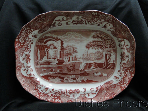 "Spode Italian, Cranberry / Red Scene: NEW Oval Platter, 14"", Box"