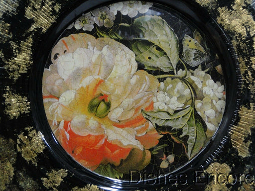 "Roy, Lesley Lepidoptera, Glass, Flowers: Square Salad Plate, 7 3/4"" --  As Is"