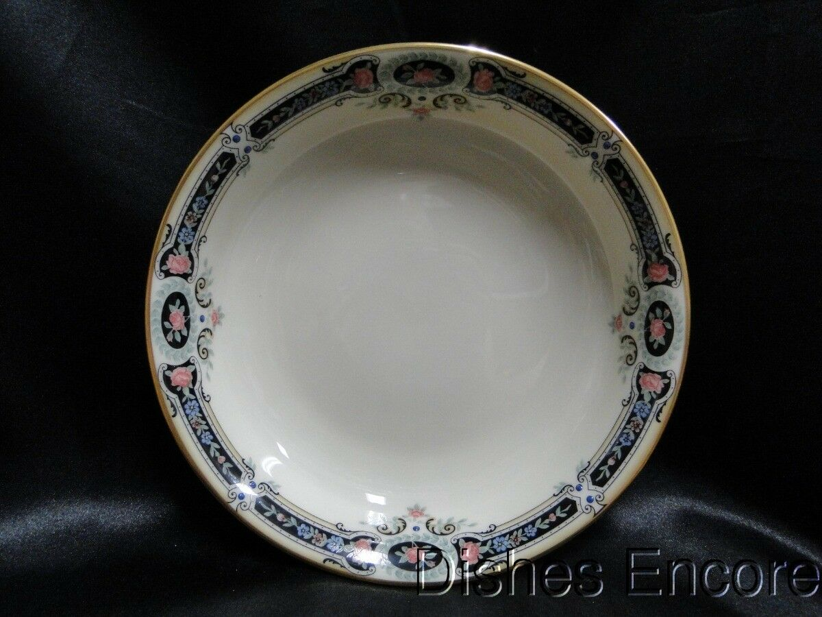 Lenox Kent Gardens, Black Border w/ Flowers, Gold Trim: Soup Bowl (s) 7 1/2""