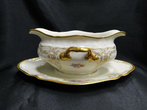 Rosenthal Diplomat, Ivory w/ Florals & Gold: Gravy Boat w/ Attached Underplate