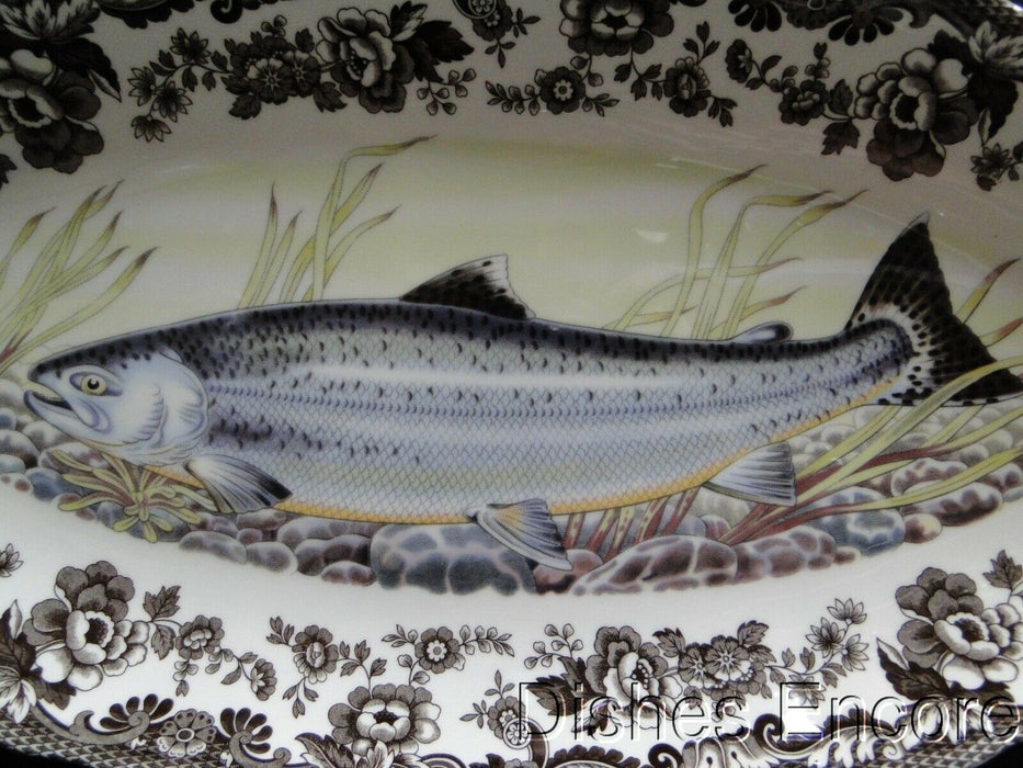 "Spode Woodland King Salmon, North American Fish: NEW Oval Platter, 18 1/2"", Box"