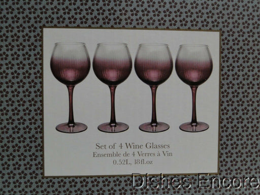 "Spode Kingsley, Plum Ombre: NEW Set of 4 Wine Glasses, 8 1/2"" Tall, 18 oz, Box"