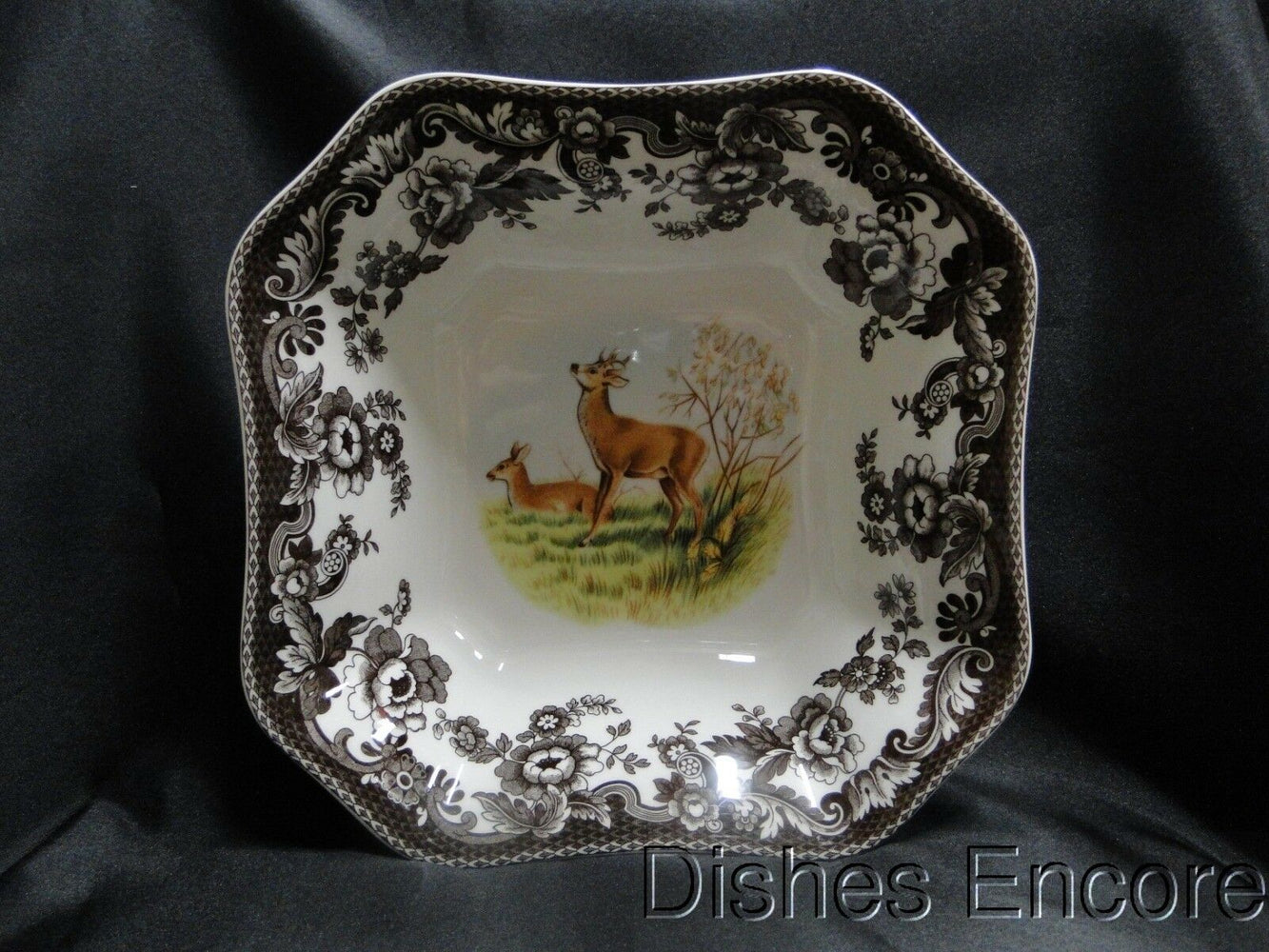 "Spode Woodland Deer: NEW Square Serving / Salad Bowl, 9 1/2"", Box"